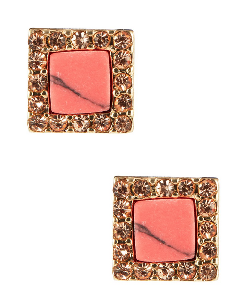 Kensie Coral Square Pave Earring
