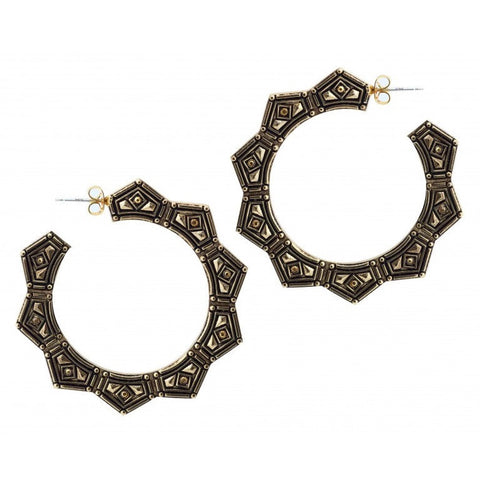 Belle Noel Gold Plated Gypsy Chic Hoops