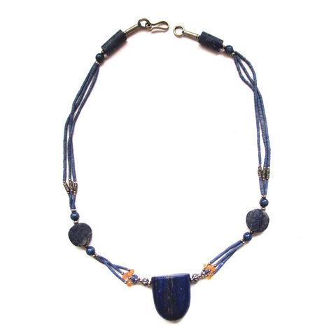 Lapis Stone Tablet Pendant Necklace This beaded necklace has a blue Lapis stone at the center with a hint of gold
