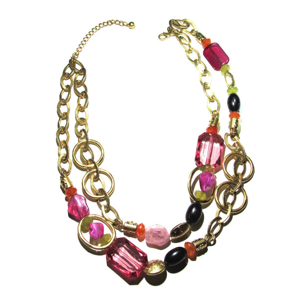 Laura Ashley Pink Rhinestone Necklace