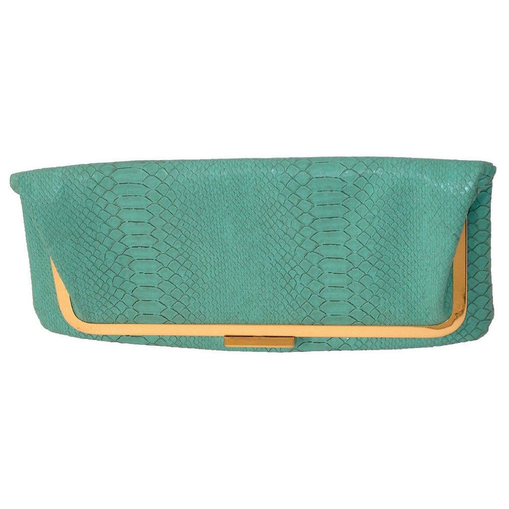 Leila Rowe Mint Gold Faux Aligator Clutch
