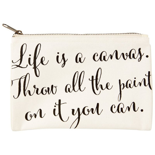 Life is a canvas pencil pouch
