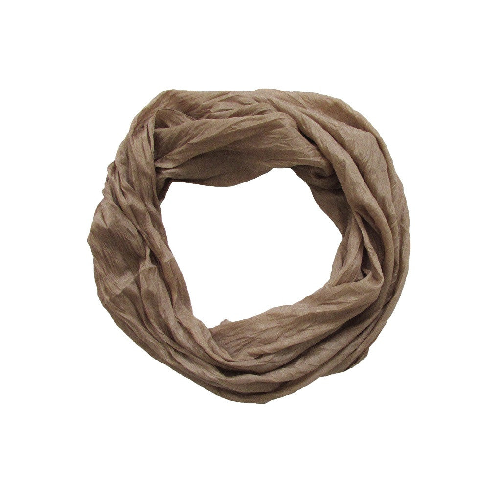 Light Gold Ruched Scarf - Looped View