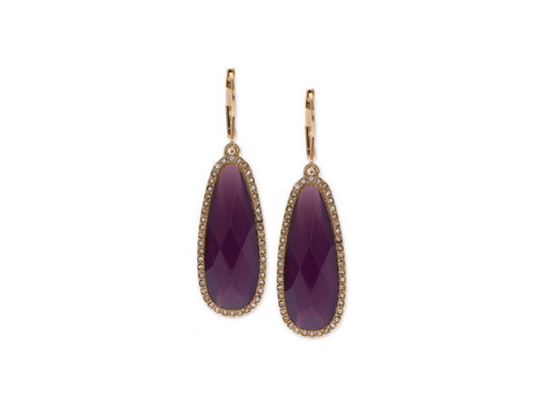 LONNA & LILLY Drop Pave Stone Drop Earrings