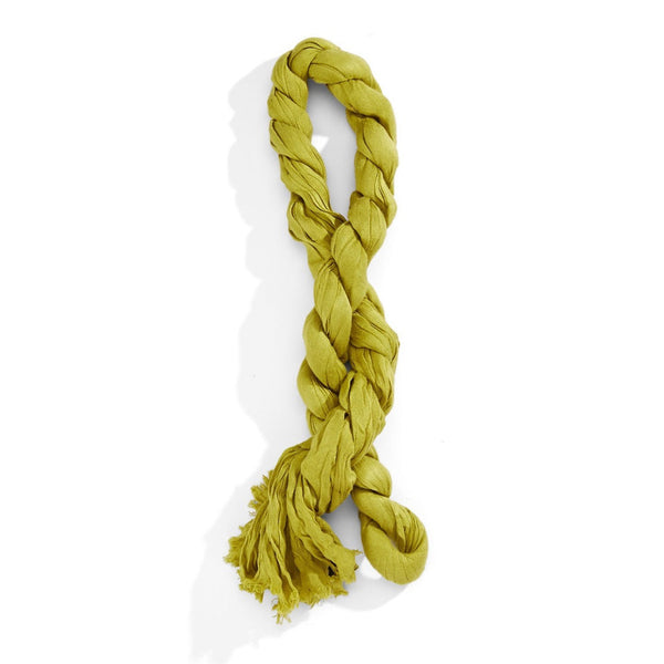 Lord & Taylor Chartreuse Crinkle faux pashmina scarf with frayed ends is just the right accessory to welcome spring.