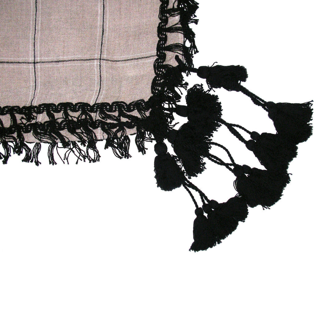 Massimo Dutti Black Tassels Checked Scarf Closeup of Tassels