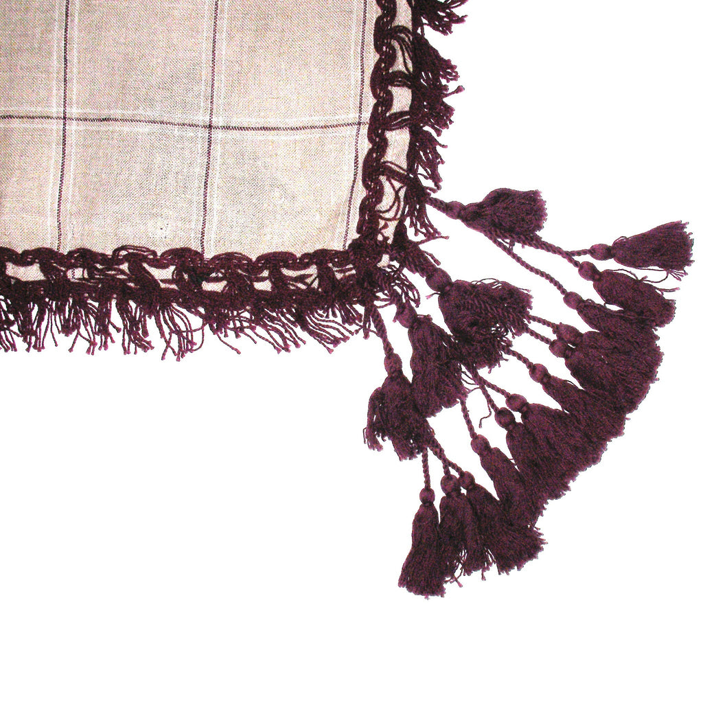 Massimo Dutti Mauve Tassels Checked Scarf Closeup of Tassels