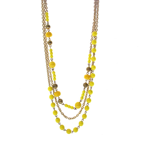 Massimo Dutti Multi Layered Yellow Bead Necklace features beautiful layers of yellow beads and gold chain with gold bead accents