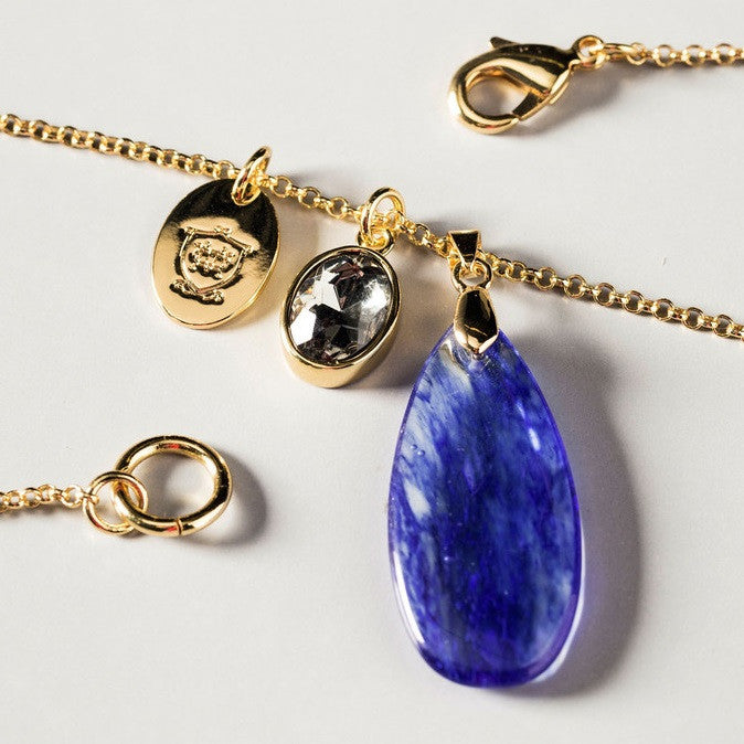 Massimo Dutti Blue Stone Charm Necklace Closeup