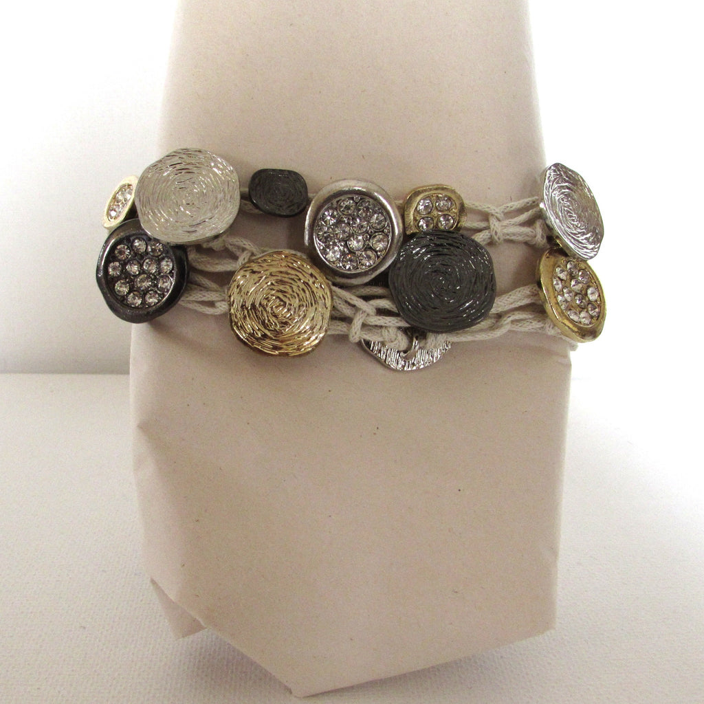 Metallic Disc White Cord Bracelet