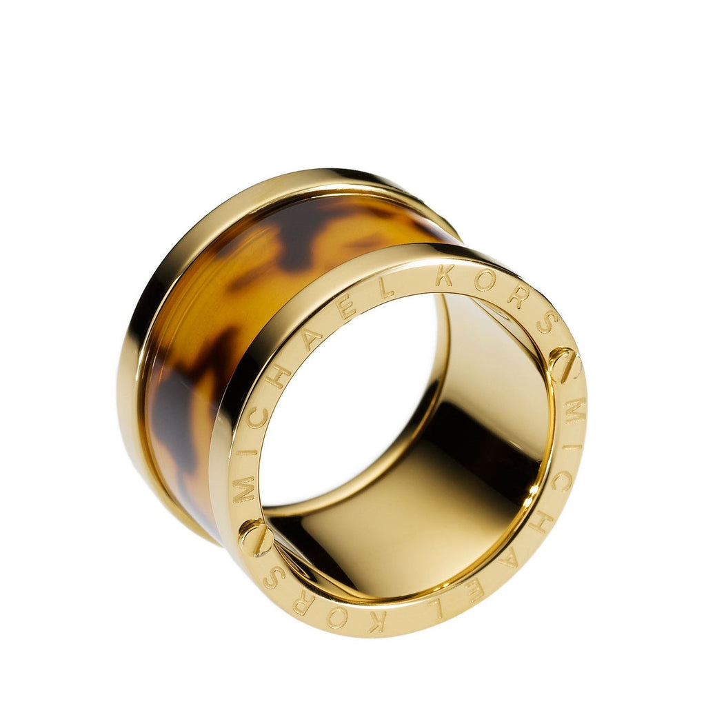 MICHAEL - KORS- Chunky- Barrel- Ring - tortoise and Gold tone