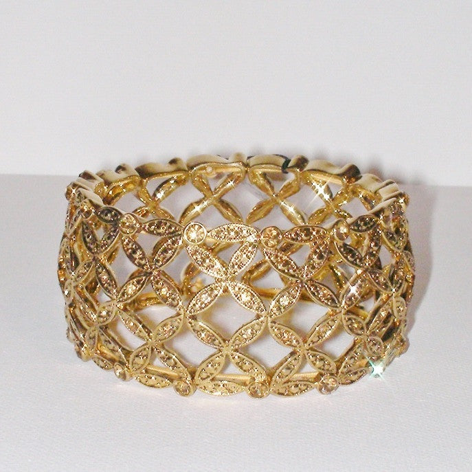 Monet Gold Plated Basket Weave Broad Stretch Bracelet Front Look