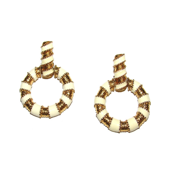 Monet Gold White Enamel Earrings