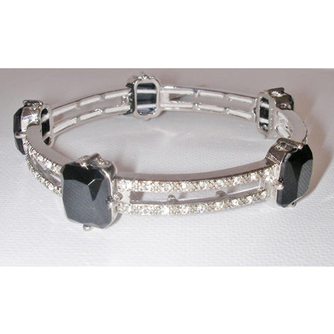 Monet Oval Cut Stone and Pave Crystal Bracelet