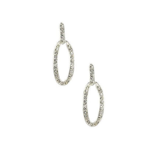 Monet Silver Pave Link Drop Earrings