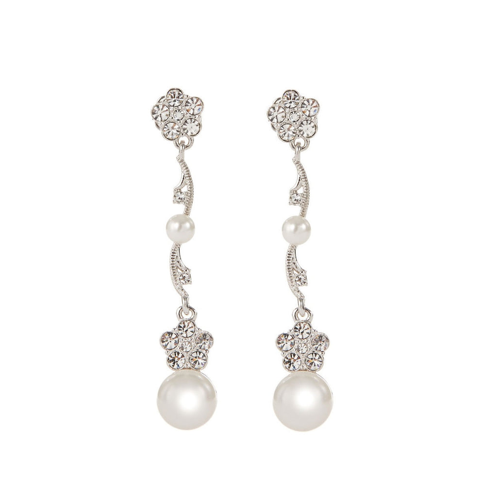 NADRI Crystal Flower Pearl Drop Earrings