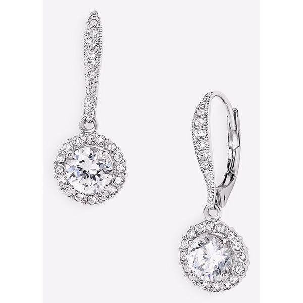 Nadri Round Cubic Zirconia Rhodium Plated Lever Back Earring