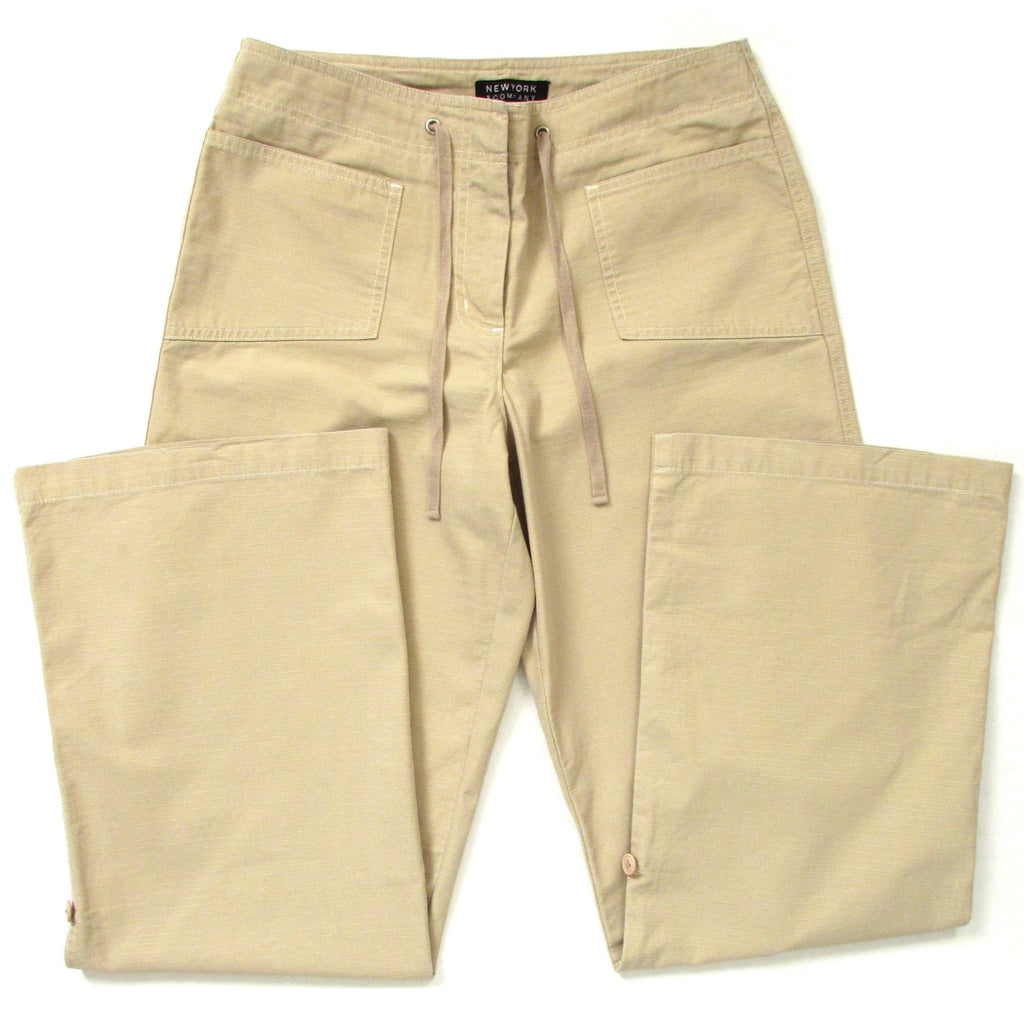 New York And Company Khaki Cargo Pants Legs Folded Front Look