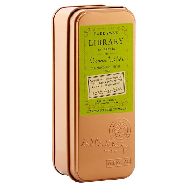 Paddywax Library Collection Two Wick Travel Tin - Oscar Wilde