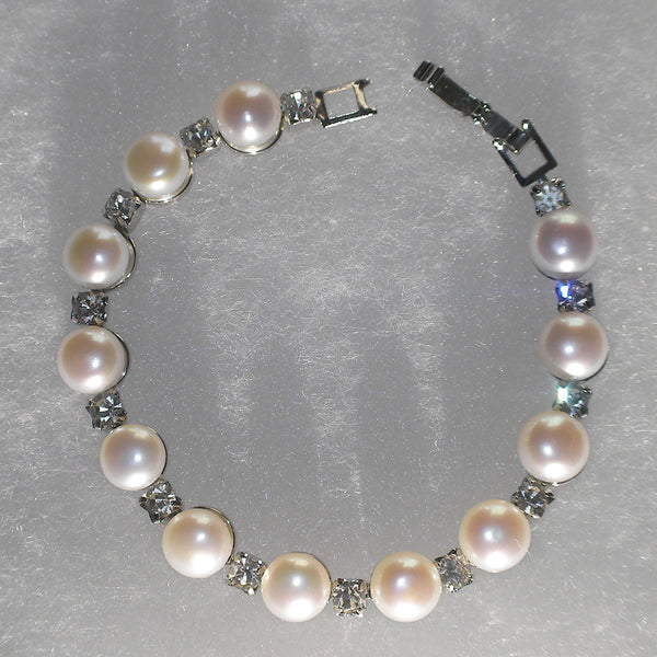 Pearl & Diamond Station Bracelet