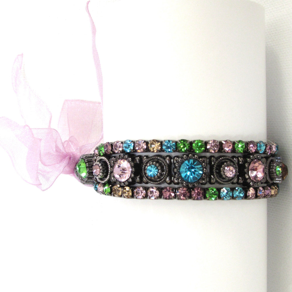 Pink Multi Trio  Stretch Bracelet Vertical View