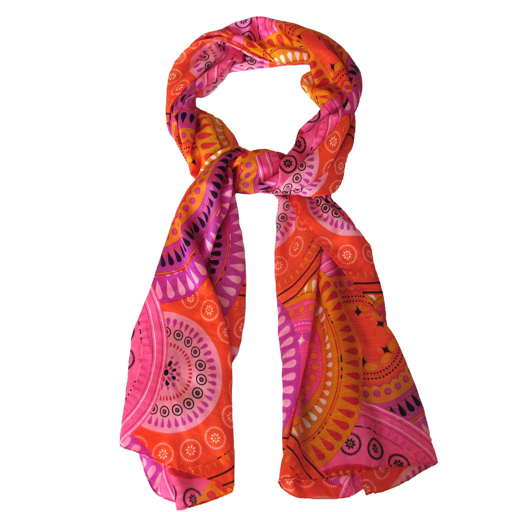 Echo Orange/Pink Printed Scarf Add a burst of color with this vibrant wrap by Echo