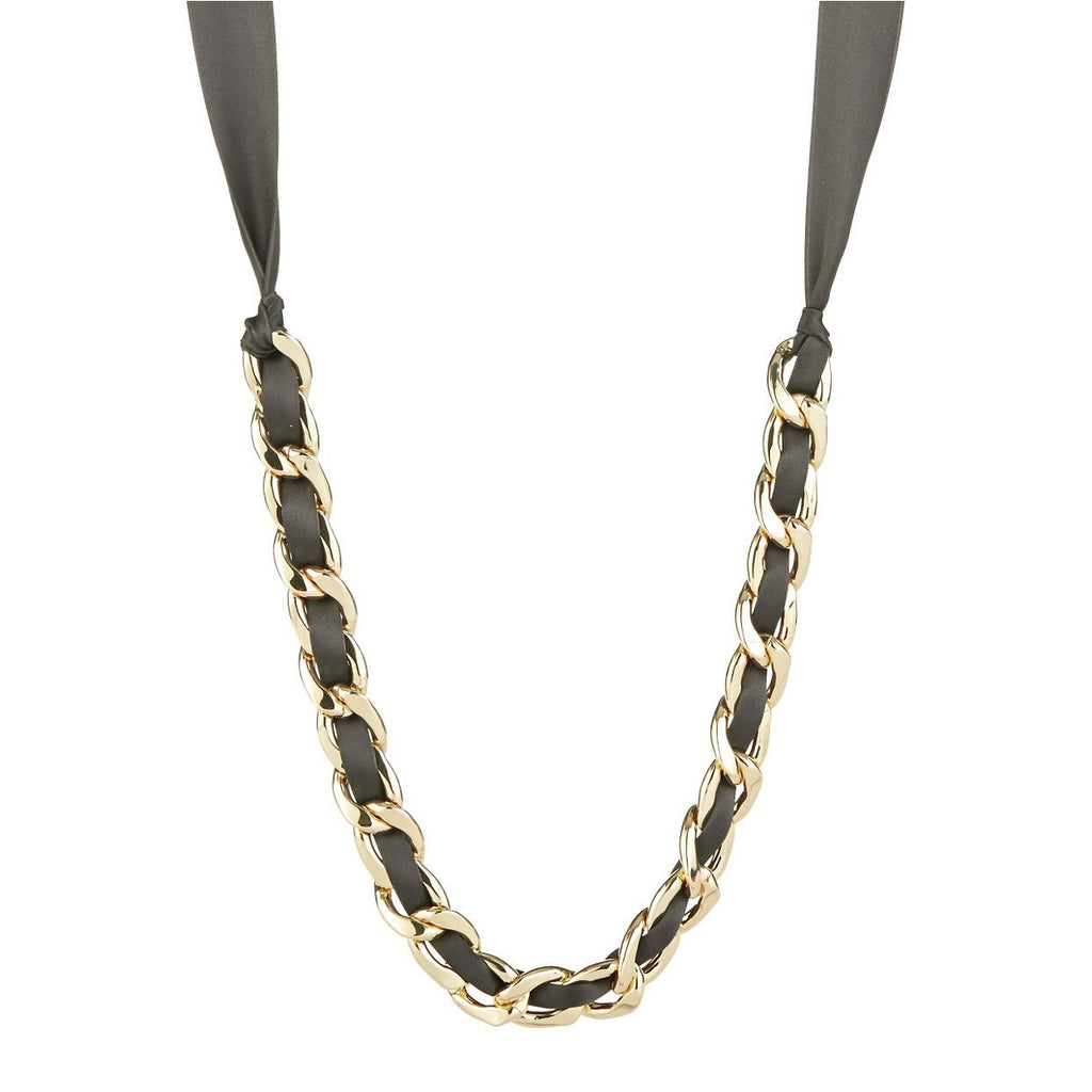 R.J. Graziano Black Ribbon and Gold Curb Chain Necklace