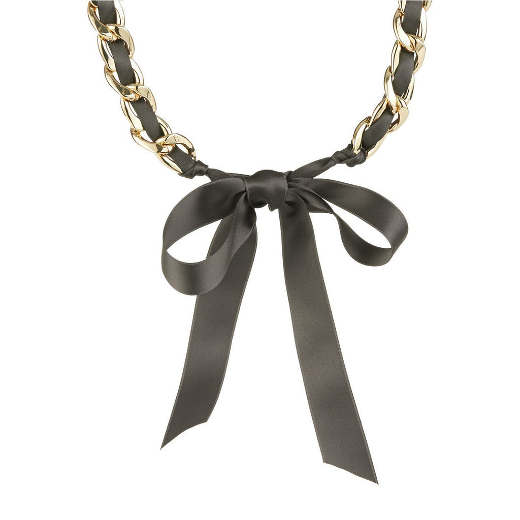 R.J. Graziano Black Ribbon Chain Necklace Tie View