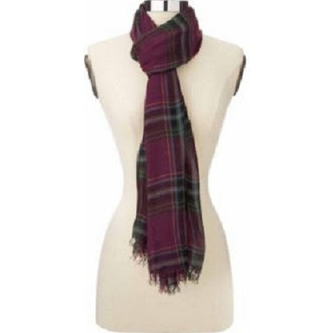 Lauen by Ralph Lauren Woven Plaid Scarf - Burgandy
