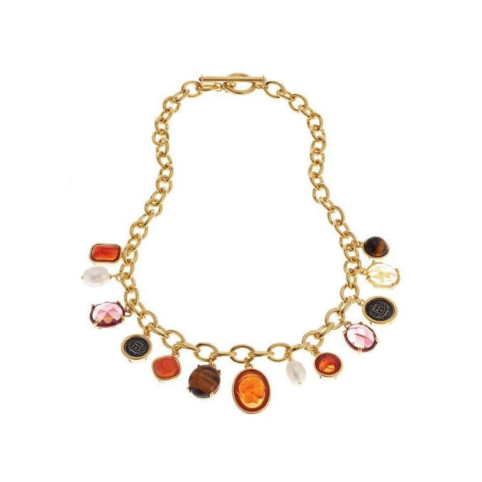 Lauren Ralph Lauren Gold-Tone Multi-Stone Frontal Necklace