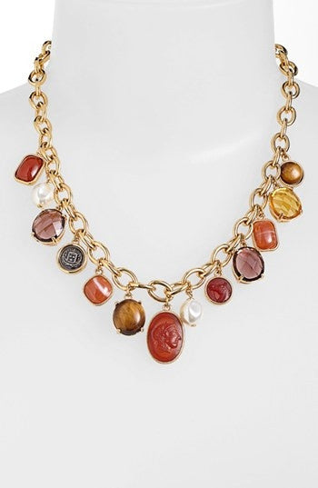 Lauren Ralph Lauren Gold-Tone Multi-Stone Frontal Necklace Neck View