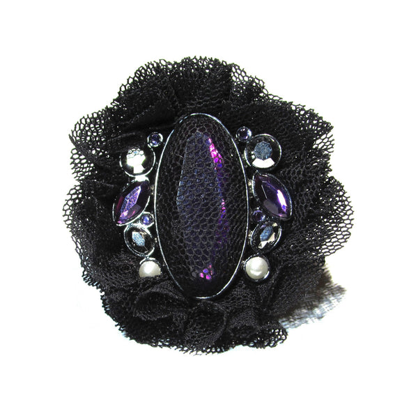 Rhinestones Pearls Fabric Ring