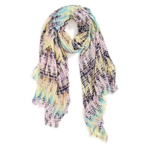 Roffe Accessories sound wave scarf vivid, sonically inspired print defines a breezy scarf trimmed with eyelash fringe
