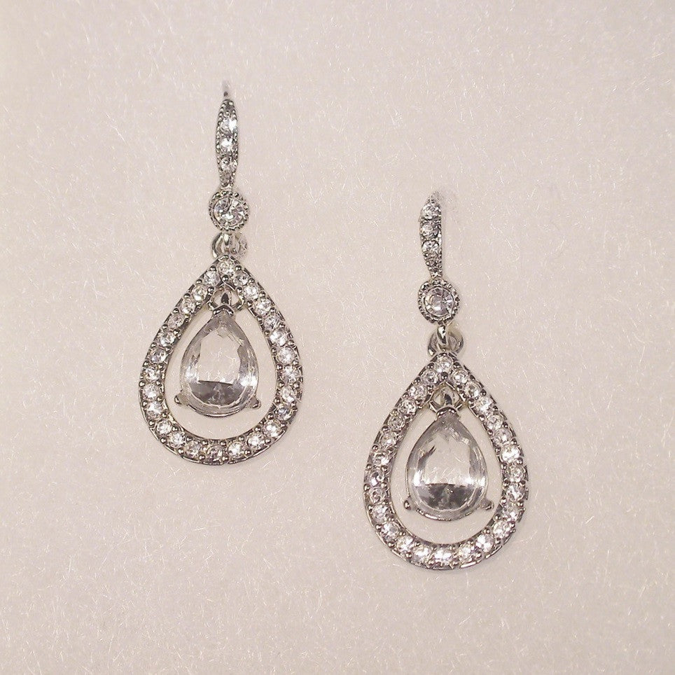 Carolee Kate Crystal Teardrop Pierced Earrings 1