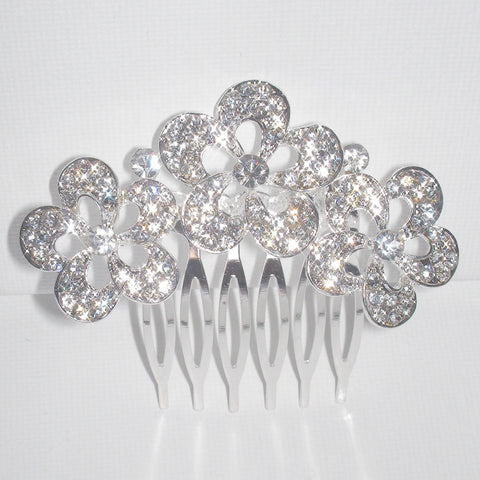 Floral Crystal Hair Comb - Bridal