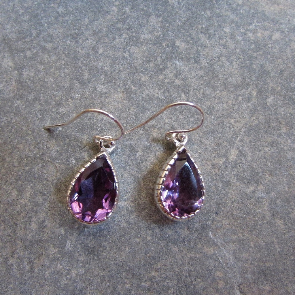 Sterling Silver Amethyst Drop Scalloped Earrings