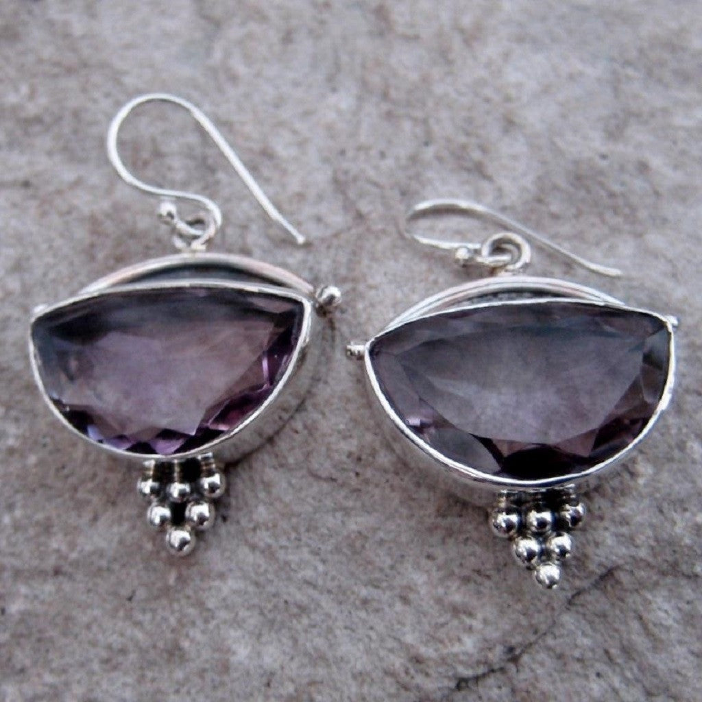 Sterling Silver Amethyst Earrings feature a generous size half moon shaped cut amethyst gemstone finished with silver honeycomb motif