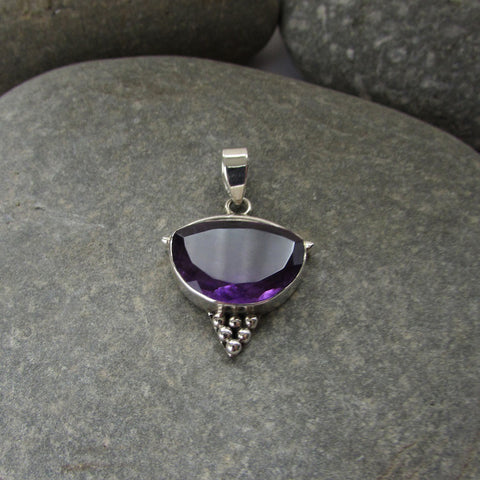 Sterling Silver Amethyst Pendant features a generous size half moon shaped cut amethyst gemstone finished with silver honeycomb motif