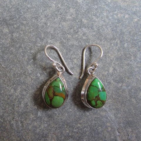Sterling Silver Green Copper Turquoise Drop Earrings