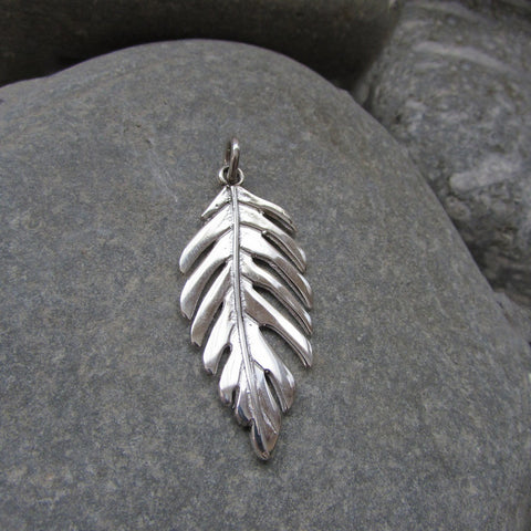 Sterling Silver Leaf Pendant crafted in Sterling Silver features a Sumac Tree leaf motif