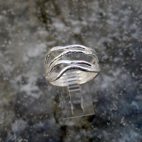 Sterling Silver Wave Ring inspired by the gentle waves of the ocean this ring is crafted in Sterling Silver with a brushed surface finish