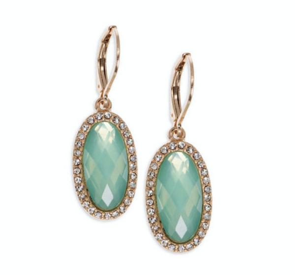 LONNA & LILLY Green Stone Pave Earrings