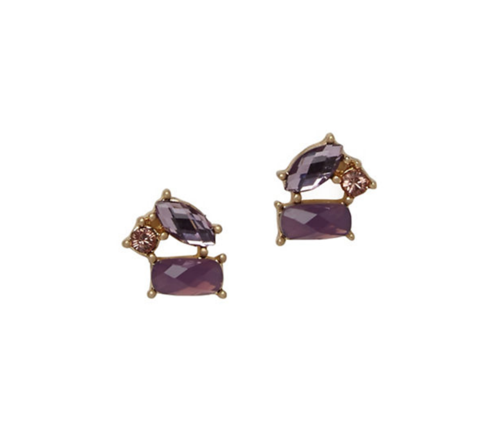 LONNA & LILLY Two-Tone Purple Stud Earrings