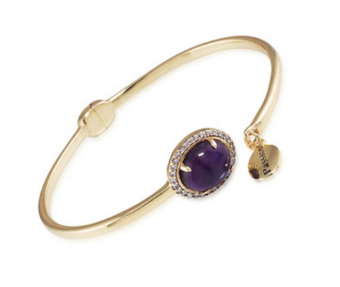 CAROLEE Purple Chalcedony Hinged Bangle Bracelet