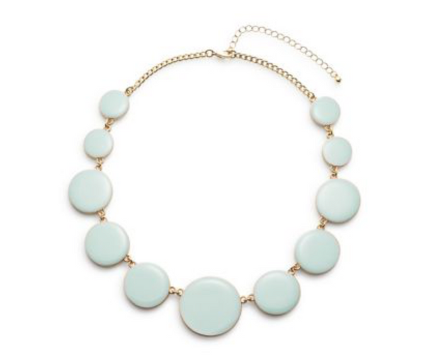 Enamel Circle Necklace in Mint