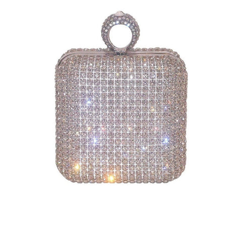 Sergio Feretti Crystal Minaudiere is a crystal encrusted modern and stylish box clutch