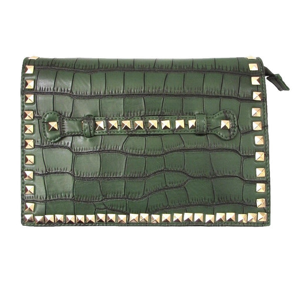 Sergio Feretti Pyramid Studded Leather Flap Clutch