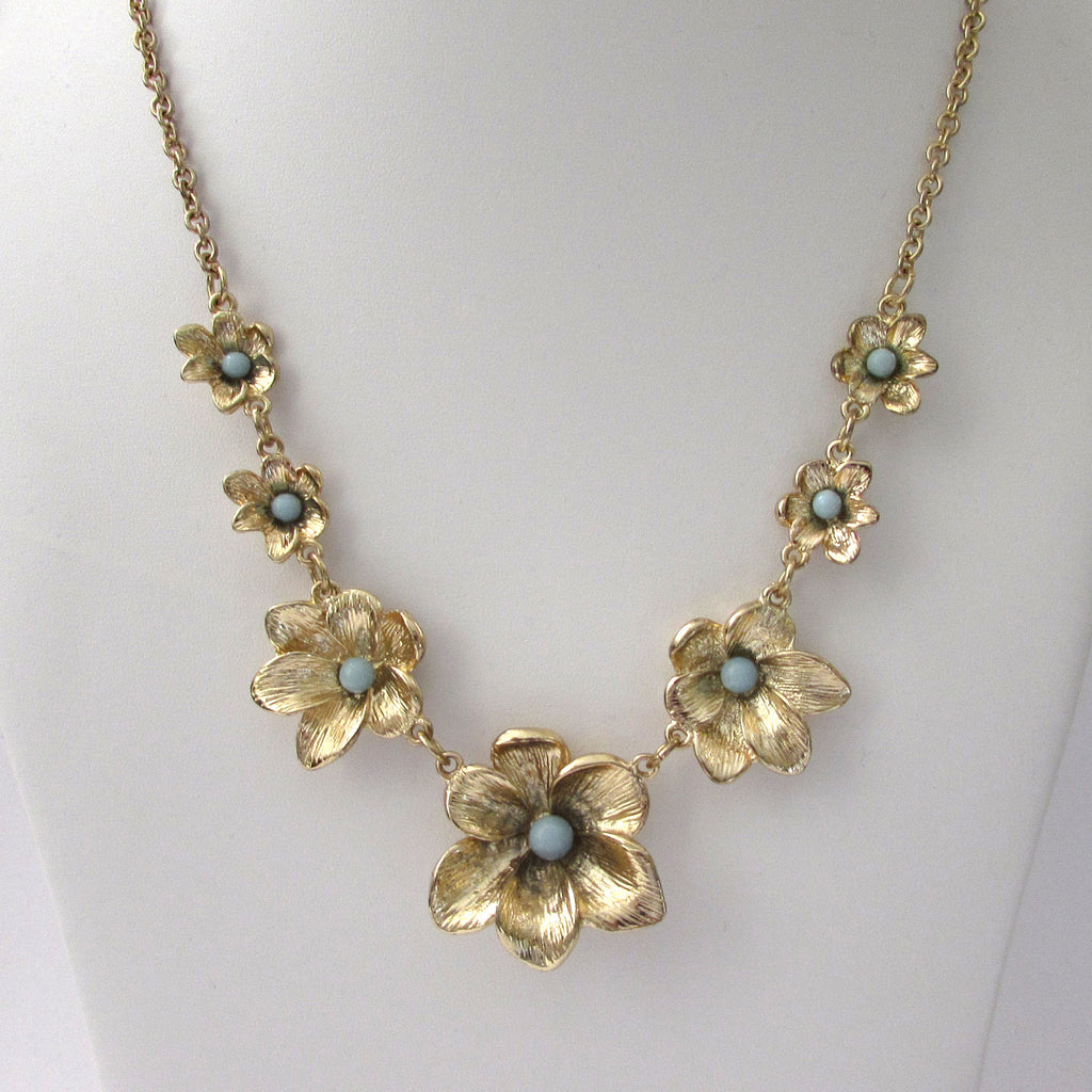 Stephen & Co Gold Tone Floral Blue Stone Necklace