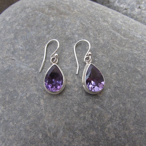 Sterling Silver Amethyst Faceted Drop Earrings