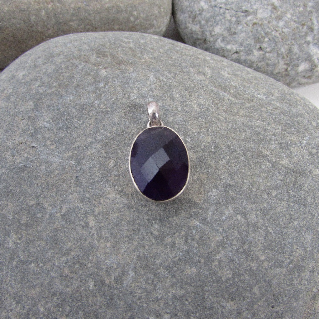 Sterling Silver Amethyst Oval Faceted Pendant  features a generous size dome shape, faceted amethyst gemstone